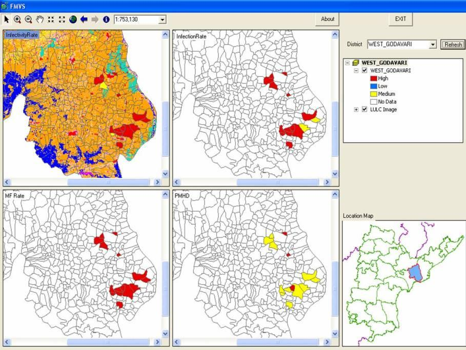 Filariasis monitoring visualization system spatial map showing the village level prevalence of filariasis infectivity infection mf rate and pmh in east godavari district of andhra pradesh thecheapjerseys Images